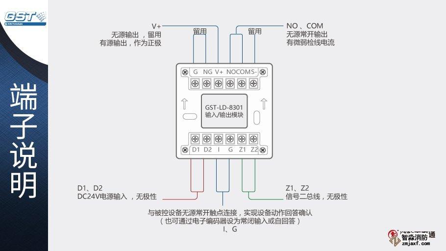 GST-LD-8301输入/输出模块端子说明