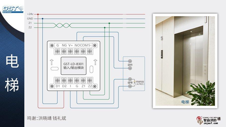 GST-LD-8301输入/输出模块接电梯