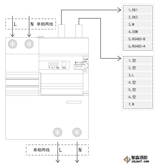 TY-610-2P智慧空开产品接线示意图