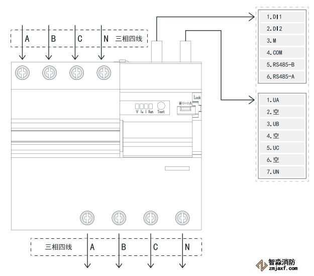 TY-610-4P智慧空开产品接线示意图