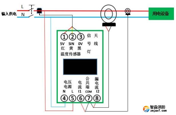 EFM-2P100电气火灾智能监测终端接线图